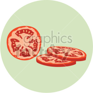 sliced tomato on green circle background clipart. Royalty-free image # 407994