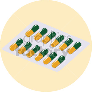 capsule container on yellow background clipart. Royalty-free image # 408199