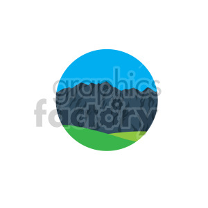 mountains with green grass scene circle design clipart. Royalty-free image # 408307