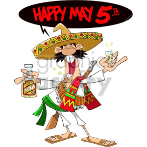 man celebrating cinco de mayo clipart. Commercial use image # 408416