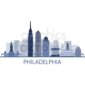 philadelphia city skyline vector with label clipart. Commercial use image # 408528