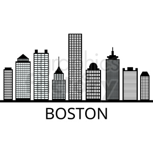 boston city skyline outline vector clipart. Commercial use image # 408558