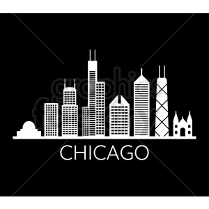chicago city vector skyline on black with title clipart. Commercial use image # 408561
