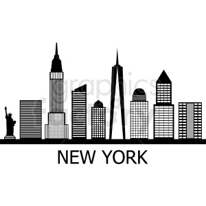 black new york skyline flat vector design with label clipart. Commercial use image # 408563