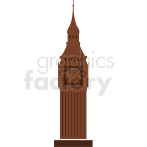 brown big ben building vector no background clipart. Commercial use image # 408623