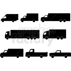 set of trucks silhouette vector clipart. Royalty-free image # 409136