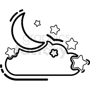 black and white moon and stars outline icon vector clipart. Royalty-free icon # 409205