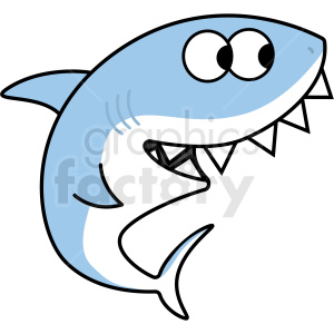 silly blue cartoon shark with large teeth vector clipart. Commercial use image # 409237