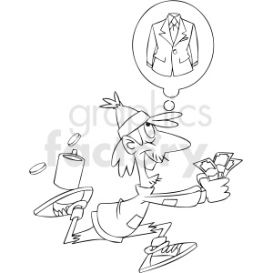 black and white homeless man runnig to buy cloths clipart. Commercial use image # 409335
