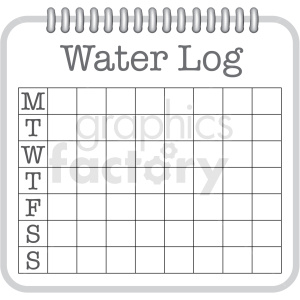 7 day water log digital planner sticker clipart. Commercial use image # 409381