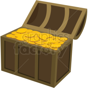 treasure chest full of gold vector clipart no background