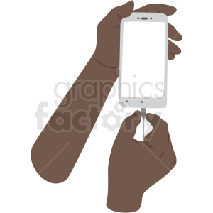 african american hand charging phone vector clipart no background