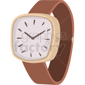 vector brown wrist watch no background clipart. Royalty-free image # 409468