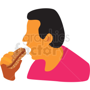 man eating hotdog cartoon clipart. Commercial use image # 409668