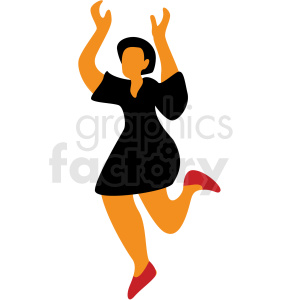 woman with black dress dancing vector clipart clipart. Commercial use image # 409673