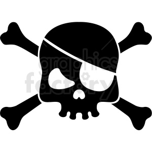 jolly roger skull with eye patch vector clipart clipart. Royalty-free image # 409739