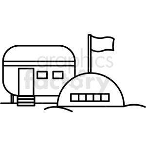 black and white base camp icon clipart. Royalty-free icon # 409792