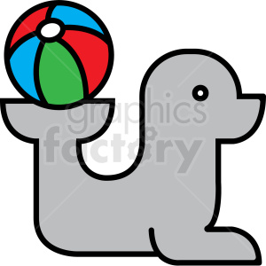 seal playing with beach ball icon clipart. Commercial use image # 409938