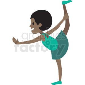 cartoon African American girl doing ballet clipart. Commercial use image # 409949