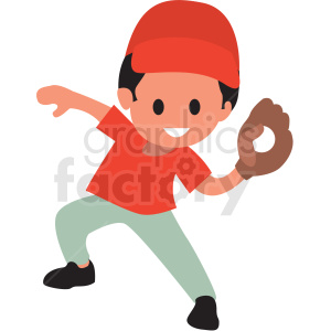cartoon boy playing baseball clipart. Commercial use image # 409952