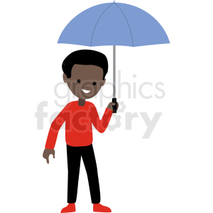 african american cartoon boy holding umbrella vector clipart clipart. Commercial use image # 409958