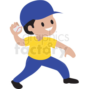 cartoon boy throwing baseball