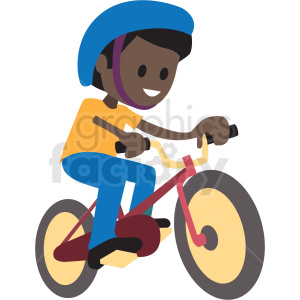 cartoon African American boy riding bike clipart. Royalty-free image # 409979