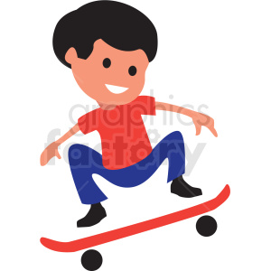 cartoon boy riding skateboard