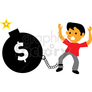 debt bomb cartoon vector clipart clipart. Commercial use image # 410004