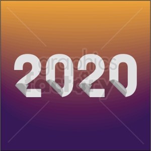 2020 new year clipart with gradient background animation. Royalty-free animation # 410027