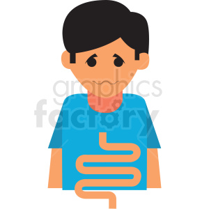 boy with upset digestion vector icon clipart. Royalty-free image # 410115