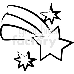 cartoon shooting star drawing vector icon