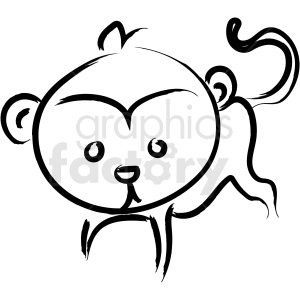 cartoon monkey drawing vector icon clipart. Commercial use image # 410251
