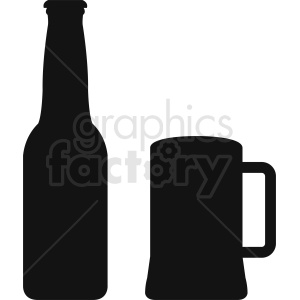 bottle and mug silhouette clipart clipart. Royalty-free image # 410273
