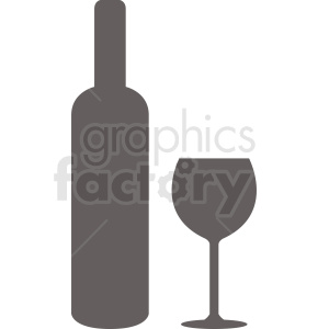 bottle of wine with glass silhouette vector