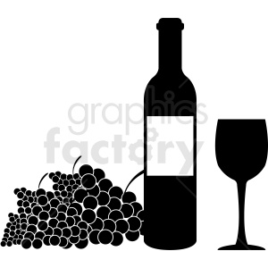 grapes and bottle of wine black and white clipart. Royalty-free image # 410325