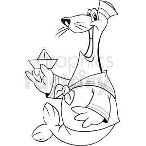 black and white seal sailor cartoon clipart. Royalty-free image # 410570