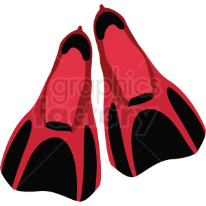 red scuba swimming flippers vector clipart clipart. Commercial use image # 410583