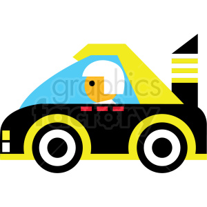 cartoon yellow race car vector icon