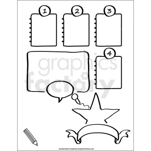 doodle notes printable page for activities clipart. Royalty-free image # 411150