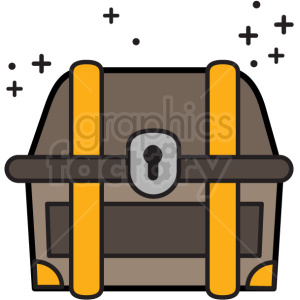 treasure chest in color with sparkles vector icon clipart. Royalty-free icon # 411242