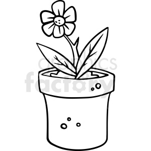 cartoon flower pot bottle black white vector clipart clipart. Commercial use image # 411494