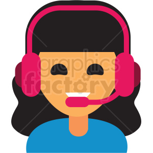 gamer girl avatar icon vector clipart