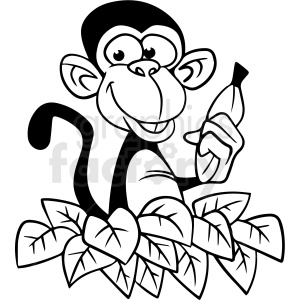 cartoon monkey black white vector clipart clipart. Commercial use image # 411647