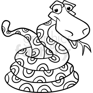 cartoon snake black white vector clipart clipart. Commercial use image # 411648