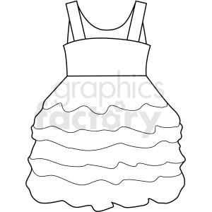 black white girl dress vector clipart clipart. Commercial use image # 411715