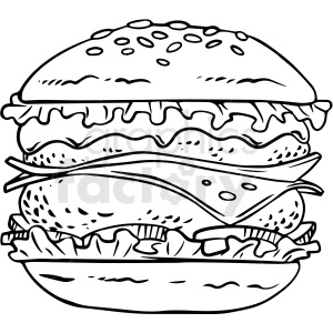 black and white cheeseburger vector clipart