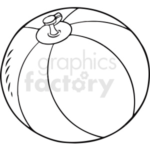 black and white cartoon beachball vector clipart clipart. Commercial use image # 411750
