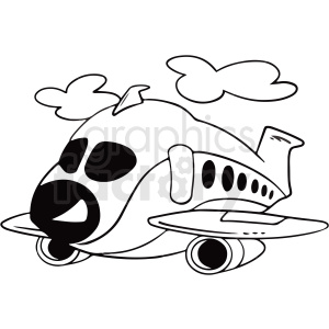 Black And White Cartoon Airplane Vector Clipart Royalty Free Gif