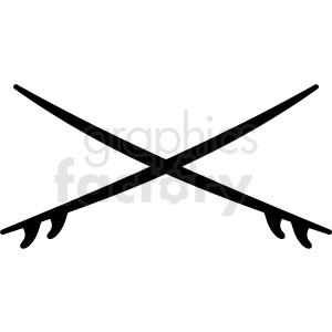 black and white crossed surfboards vector clipart clipart. Royalty-free image # 411766